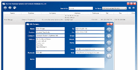Acumen Contacts Database Screenshot