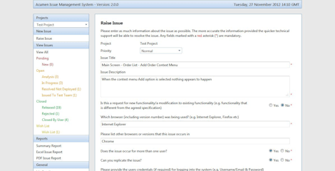 Acumen Issue Management System Screenshot