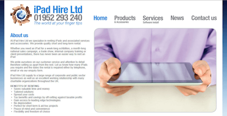iPad Hire Website Screenshot